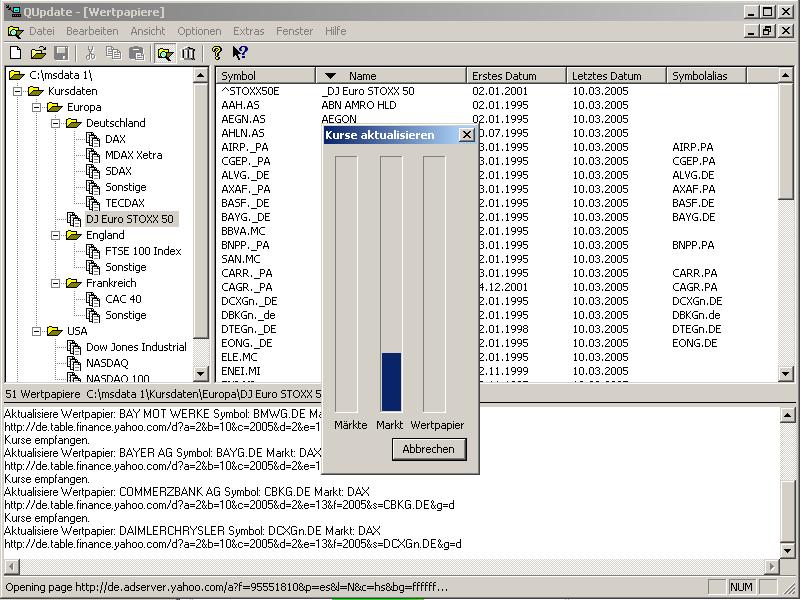 Screenshot vom Programm: QUpdate
